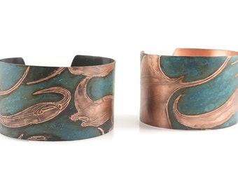Green-Blue Manta Ray Patina Cuff Bracelets - Oxidized Small Mantas or Copper Large Mantas