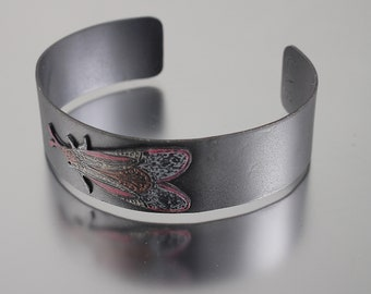 Moth Insect Cuff Bracelets - Oxidized Cuff with Colorful Red, Orange and White Bug Cuff