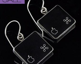 SALE - Computer Key Jewelry - rePURPOSED Apple MacBook Command Key Apple Logo v1 Sterling Dangle Earrings