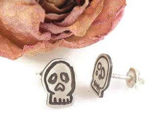 Minimalist Mini Sterling Silver Skull Studs