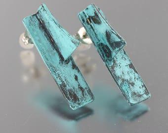 Aqua Blue Patinated Three Dimensional Ear Studs