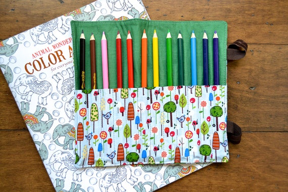 little bird colored pencil roll 12 ct coloring book etsy