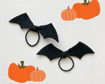 Bat Tie Mini Elastic Hair Ties, Halloween Hair Tie, Halloween Hair ties