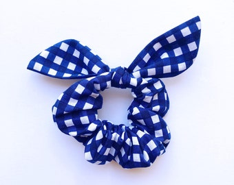 Blue Gingham Tie Scrunchie, Hair Scrunchie with tie, Hair ties, Hair accessory