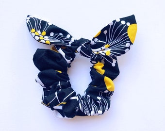 Black White and Yellow Tie Scrunchie, Hair Scrunchie with tie, Hair ties, Hair accessory,