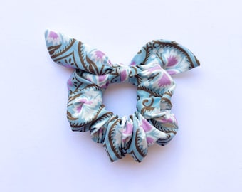 Pale Blue Tie Scrunchie with white and purple accents, Hair Scrunchie with tie, Hair ties, Hair accessory,