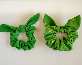 Green Tie Scrunchie, Green Scrunchie, Green and Gold, Hair accessory, Scrunchie with Ties