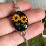 Real Miniature Sunflower Bangle Bracelet - Real Flower Jewelry.     Anti-Tarnish, preserved in Resin. Gift the sweet sun lover in your life!