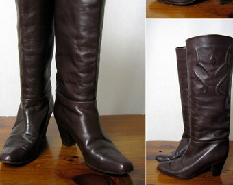 71f2e3344e 1970s western ITALIAN leather chocolate dark brown tall boots with stacked  cuban heel