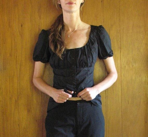 PRADA black cotton square neck blouse, s - m