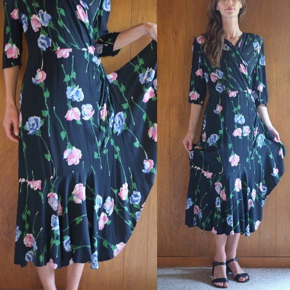 1940s black floral strong shoulder rayon wrap dres