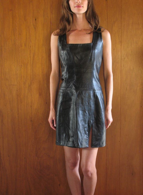 black ITALIAN LEATHER SQUARE neck mini dress, m