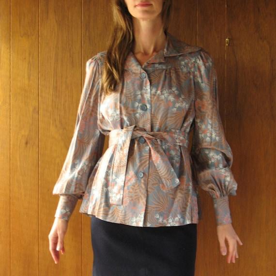 TED LAPIDUS Paris floral poet sleeve blouse, s - m