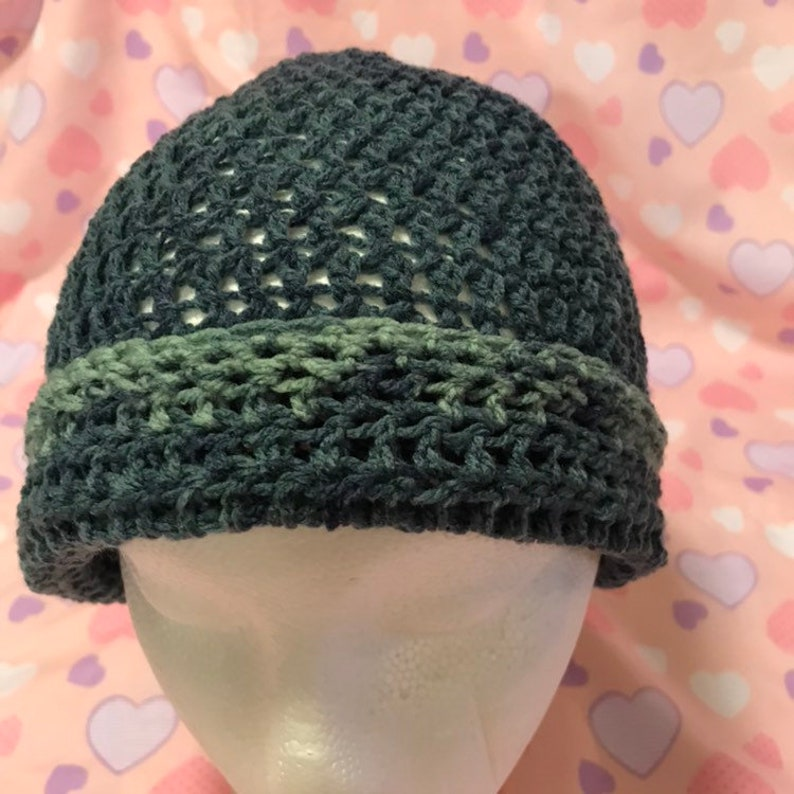 Hand crocheted womens light weight slouch hatchemo cap Mixed colors Great for spring-summer Verigated colors