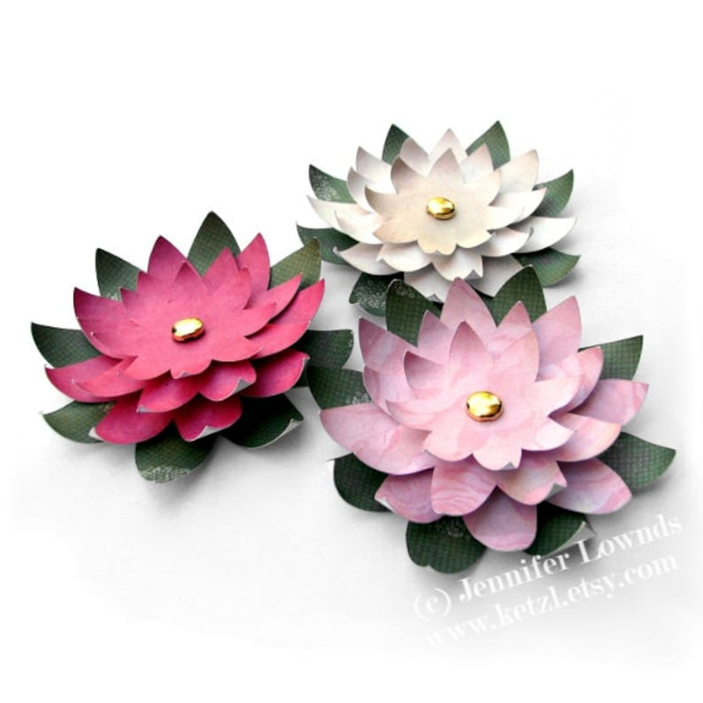 Printable Templates Instructions Tutorial How To Make Paper Flowers Water Lilies For Wedding Stationery Cardmaking Pdf Ebook
