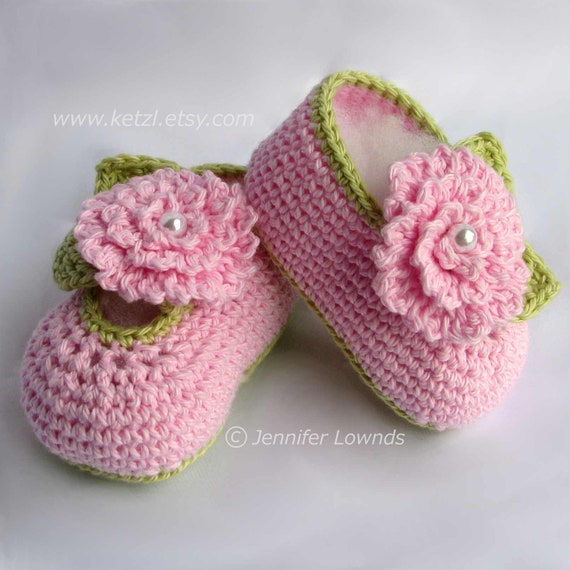 Crochet Pattern Girls Baby Booties With Pink Flowers Leaves Etsy