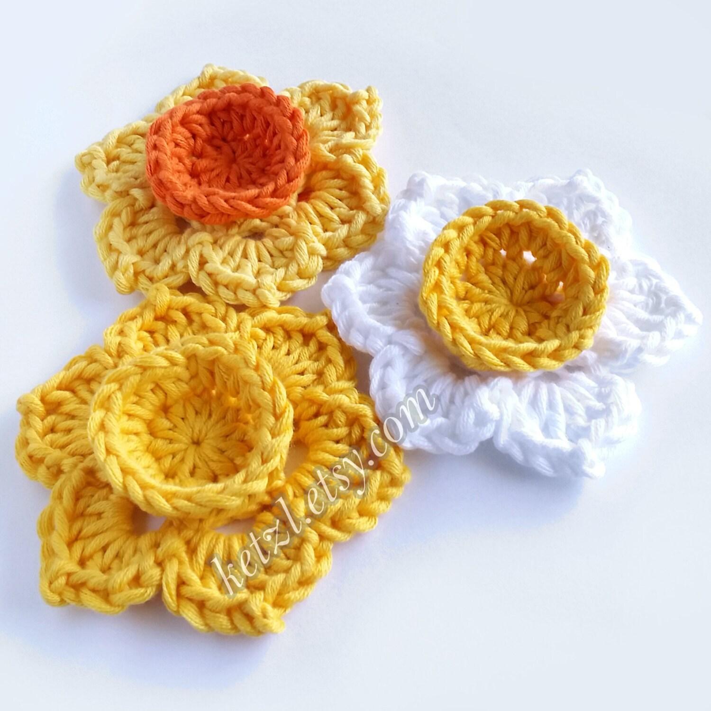 Crochet Flower Patterns Crochet Applique Patterns Flower Etsy