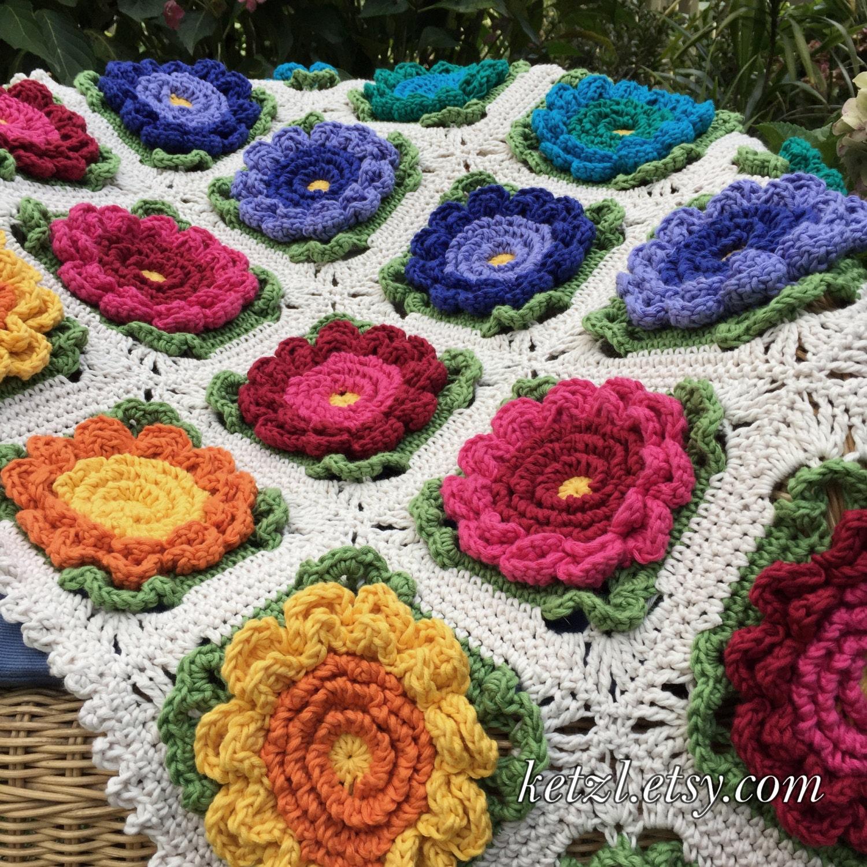 Baby Blanket Crochet Patterns Flower Blanket Pattern Crochet Etsy