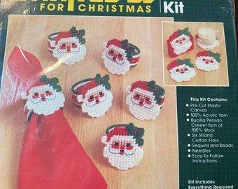 Bucilla Christmas Needlepoint Craft Kit  Painted Needlepoint Napkin Rings  Kit # 60306