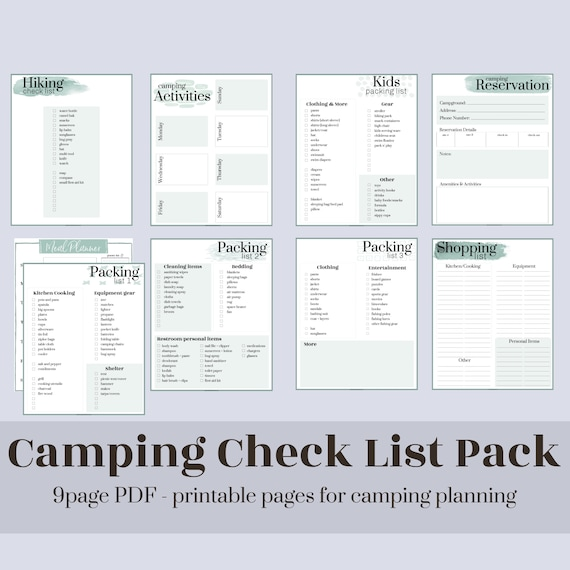 Camping Checklists and Worksheets // Printable PDF pages