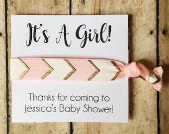 Girl Baby Shower, Hair Tie Favors, Girl Baby Shower Favors, It's a Girl, Girl Shower Favor, Baby Shower Favor, Pink Shower, Custom Favors