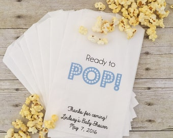 Ready to Pop Baby Shower Favor Treat Bags, Favor Bags,  Popcorn Bags, Gift Bags, Candy Buffet Bags, Baby Shower Favor Bags
