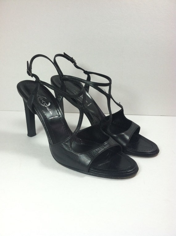 Vintage Black Leather Sandals / Black Strappy Sand