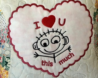 Vintage Quilted Pillow  . . . Repurposed Double Wedding Ring  Quilt Top . . . Applique Heart . . . Embroidered  I Love You This Much