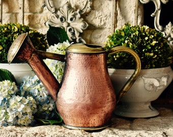 Vintage Lovely Copper And Brass Watering Can
