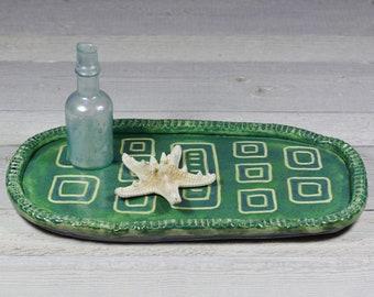 Seafoam Green Geometric Tray
