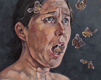 """Contemporary Figurative Original Oil Painting, Nude Portrait Painting with Moths, Surreal Oil Painting - """"What Words are These?"""""""
