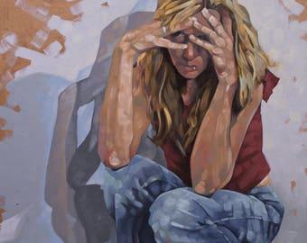 "Fine Art Original Oil Painting, Figurative Emotional Art, Portrait Oil Painting, Contemporary Art, ""The Weight"""