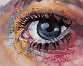 """Original Embroidered Painting, Unique Colorful Art, Close Up Eye Oil Painting with Hand Embroidery, Contemporary Fiber Art - """"All Seeing"""""""