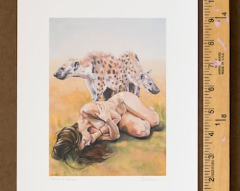 "Print of Fantastical Oil Painting, Archival Giclee Print, Sleeping Nude with Hyenas, Fine Art Print of Imaginative Art - ""Raised by Hyenas"""