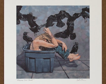 "Giclee Art Print, Archival Print of Original Oil Painting, Nude with Crows, Ravens, Birds, ""Nagging Self-Doubt"""