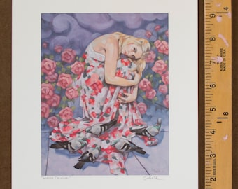 "Giclee Fine Art Print of Oil Painting, Female Figure with Pink Floral Roses and Pigeons Original Art, Archival Print - ""Winter Delusion"""