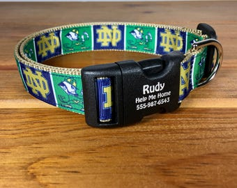 Notre Dame Fighting Irish Football Personalized Dog ND Fans Made in USA  Gift for Notre Dame Fan Custom Made Plastic or Metal Engraved Buckle 4bfb71c29