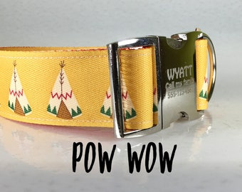 1.5 extra wide dog collar, Tee Pee 1.5 Wide Collar, Southwest Dog Collar, Boy Dog Collar, Tribal Dog Collar, Made in USA