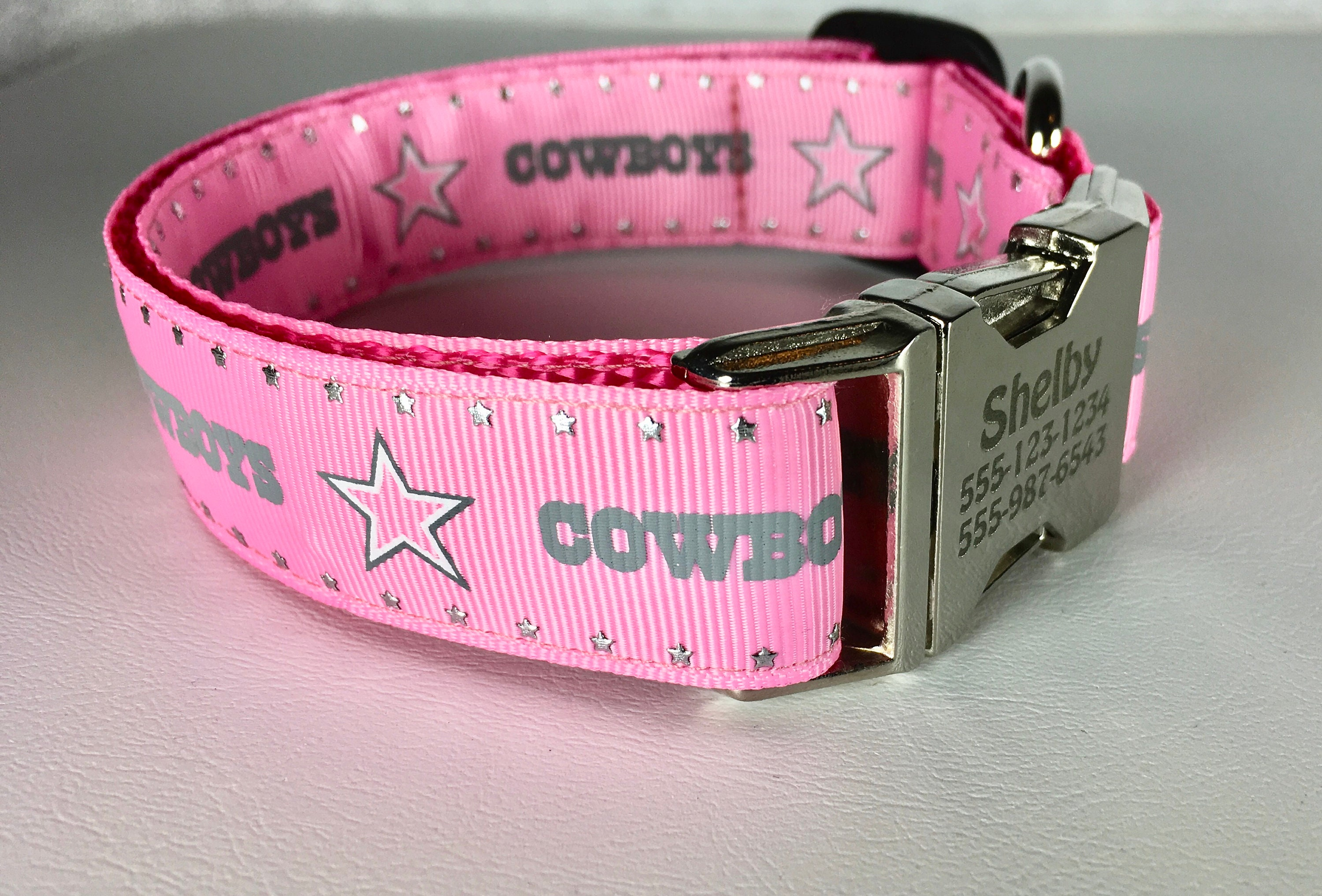 b95ce7d00e6 Pink Dallas Cowboys Personalized Girl Dog Collar in 1 | Etsy