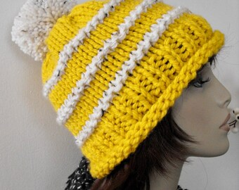 Knitted Woman's Winter Hat, Slouchy Hat, Hand Knit Hat, Ski Hat, Knitted Tuque