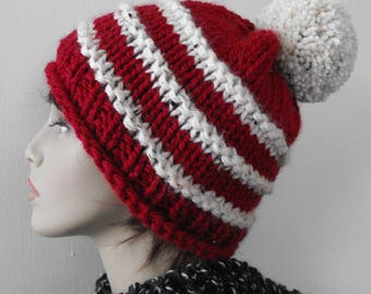 Woman's Knitted Winter Hat, Hand Knit Tuque, Ski Hat, Red Knitted Hat