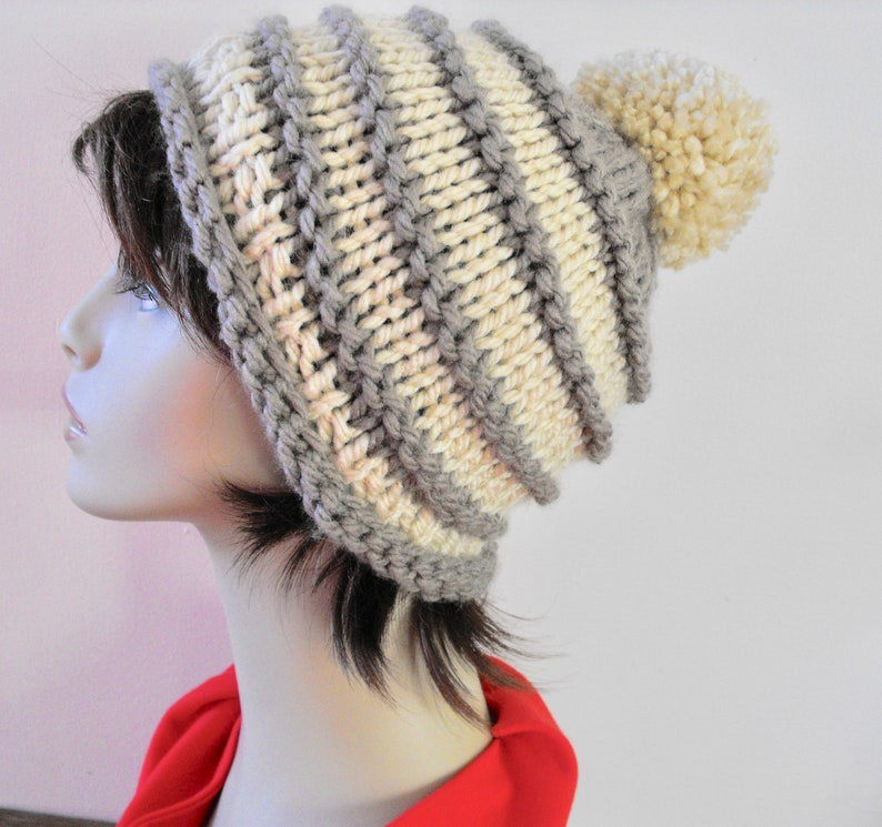 592fcc12caf72 Women s Hand Knit Winter Hat Tuque Knitted Slouch Hat