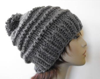 Grey Knitted Hat for Women and Teenagers, Chunky Knitted Hat, Winter Hat