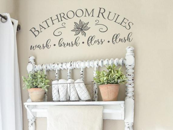 Farmhouse Bathroom Wall Decor Bathroom Rules Wash Brush Etsy