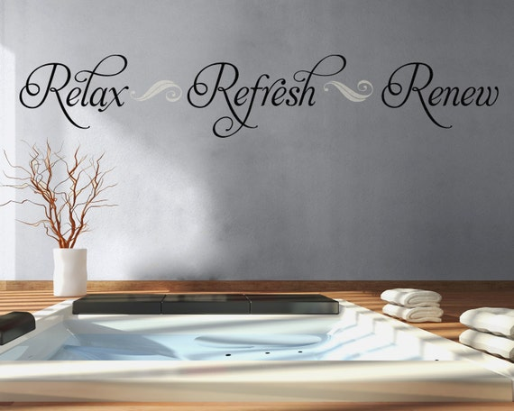 Bon Bathroom Wall Decal Relax Refresh Renew Bathroom Decor Vinyl | Etsy