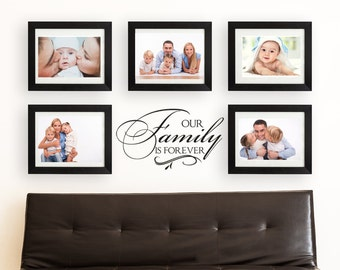 """Wall Decal Living Room Wall Decor Vinyl Decal Family Wall Decal """"Our Family is Forever"""" LARGE Photo Wall Decal Vinyl Lettering"""