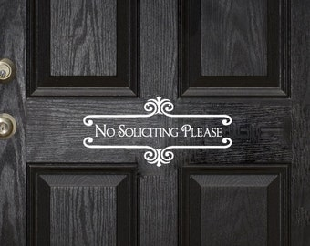 No Solicitation Sign Front Door Sign No Soliciting Sign No Soliciting Door Sign No Soliciting Decal No Soliciting Sticker Doorbell Sign