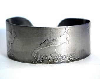 steel hares cuff, stainless steel bangle, medium surgical steel cuff