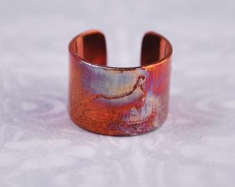 Copper hare rabbit earcuff, coloured copper earcuff, etched earcuff