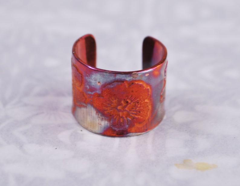 Copper flower earcuff coloured copper earcuff etched earcuff image 0